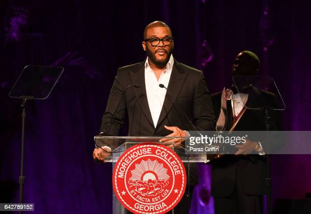 Director Tyler Perry onstage at Morehouse College 150th Anniversary 29th Annual 'A Candle In The Dark' Gala at The Hyatt Regency Atlanta on February...