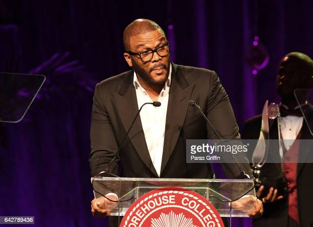 Director Tyler Perry onstage at Morehouse College 150th Anniversary 29th Annual A Candle In The Dark Gala at The Hyatt Regency Atlanta on February 18...