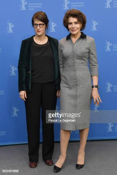 Director Ursula Meier and actress Fanny Ardant pose at the 'Shock Waves' photo call during the 68th Berlinale International Film Festival Berlin at...