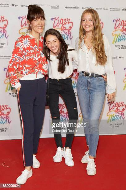 Director Ute Wieland actors Emily Kusche and Flora Li Thiemann attend the 'Tigermilch' premiere at Kino in der Kulturbrauerei on August 15 2017 in...