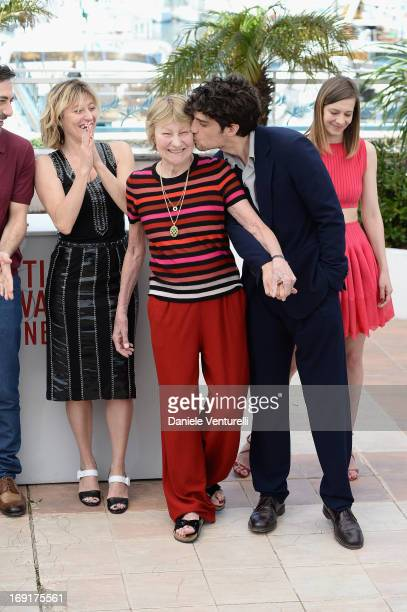 Director Valeria Bruni Tedeschi actress Marisa Borini and actor Louis Garrel attend the photocall for 'Un Chateau En Italie' during The 66th Annual...