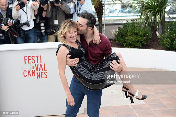 Director Valeria Bruni Tedeschi and actor Filippo Timi attend the photocall for 'Un Chateau En Italie' during The 66th Annual Cannes Film Festival at...