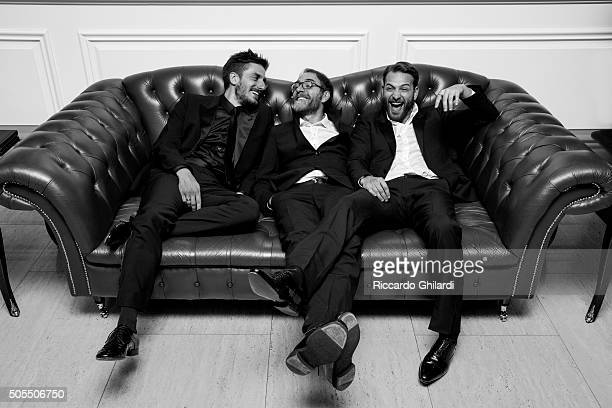 Director Valerio Mastandrea actors Alessandro Borghi and Luca Marinelli are photographed for Self Assignment on November 13 2015 in Los Angeles...