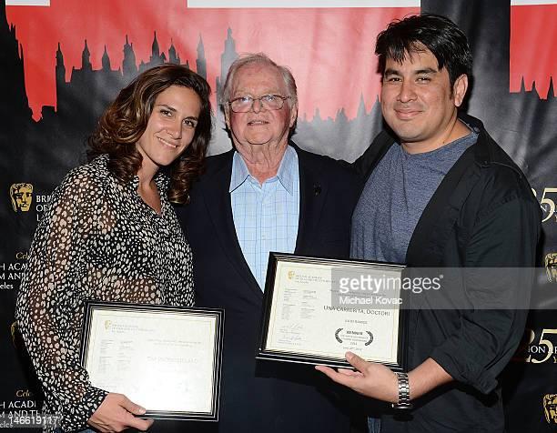 Director Vanessa Knutsen BAFTA LA Community Education Outreach Committee Cochair Paul Heller and director Julio Ramos attend the BAFTA LA Student...