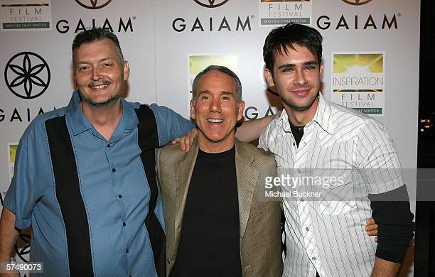 Director Victor Salva author Dan Millman and actor Scott Mechlowicz arrive at the premiere of Lionsgate's 'Peaceful Warrior' at the Laemmle Theatre...