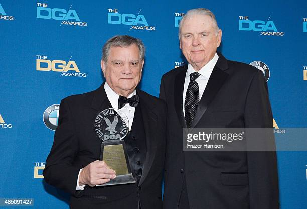 Director Vincent DeDario recipient of the Franklin Schaffner Award and sportscaster Keith Jackson pose in the press room during the 66th Annual...