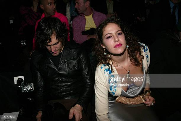 Director Vincent Gallo and artist Lola Schnabel pose front row at the Zac Posen fashion show during Olympus Fashion Week at Bryant Park February 12...