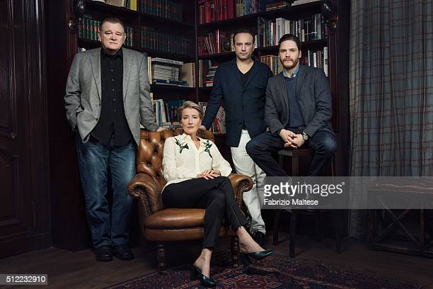 Director Vincent Perez and actors Emma Thompson Brendan Gleeson and Daniel Bruhl are photographed for The Hollywood Reporter on February 15 2016 in...