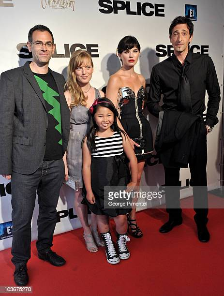 Director Vincenzo Natali actress Sarah Polley actress Abigail Chu actress/model Delphine Chaneac and actor Adrien Brody attend the canadian premiere...
