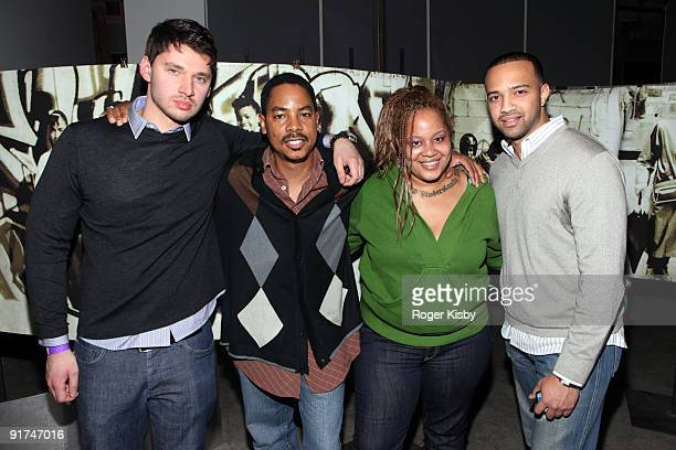 Director Vlad Yudin director of the Hip Hop Culture Center Curtis Sherrod widow of Big Pun Liza Rios and producer Edwin Mejia attend the screening of...