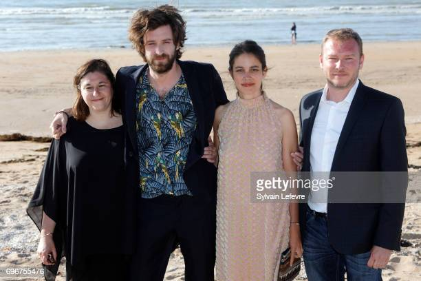 Director Vladimir De Fontenay and girlfriend and guests attend photocall for 'Mobile homes' during 3rd day of the 31st Cabourg Film Festival on June...