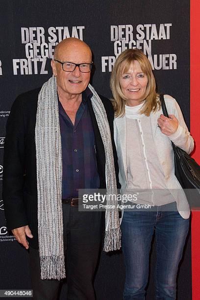 Director Volker Schloendorff and his wife Angelika attend the Berlin premiere for the film 'Der Staat gegen Fritz Bauer' at Kino International on...