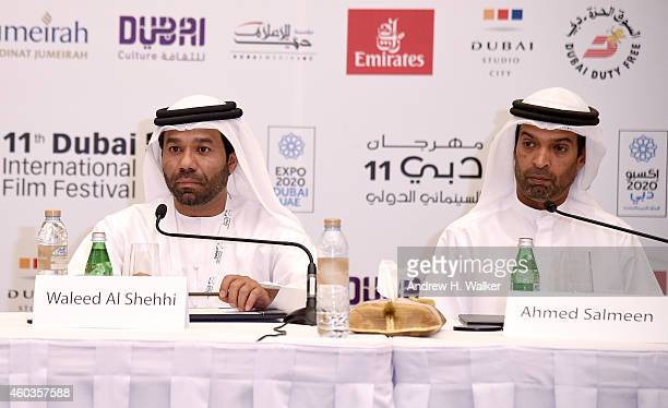 Director Waleed Al Shehhi and screenwriter Ahmed Salmeen attend the 'Dolphins' press conference during day three of the 11th Annual Dubai...