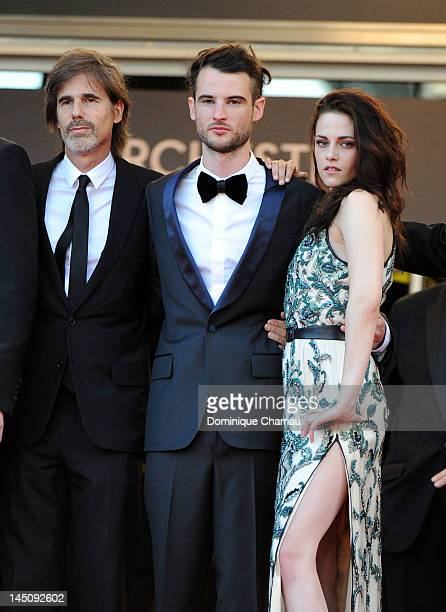Director Walter Salles actors Tom Sturridge and Kristen Stewart attend the 'On The Road' Premiere during the 65th Annual Cannes Film Festival at...