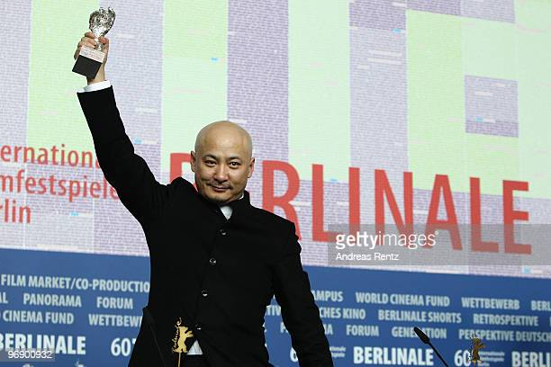 Director Wang Quan'an poses with the Silver Bear for Best Script of 'Tuan Yuan' at the 'Award Winners' Press Conference during day ten of the 60th...