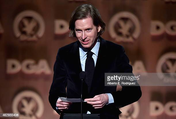 "Director Wes Anderson accepts the Feature Film Nomination Plaque for ""The Grand Budapest Hotel"" onstage at the 67th Annual Directors Guild Of America..."