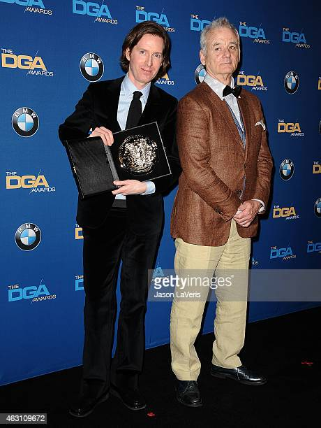 Director Wes Anderson and actor Bill Murray pose in the press room at the 67th annual Directors Guild of America Awards at the Hyatt Regency Century...