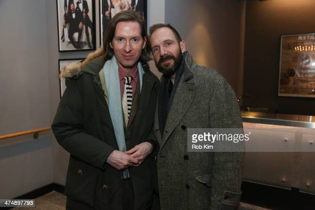 Director Wes Anderson and actor Ralph Fiennes attend an official Academy members screening of 'The Grand Budapest Hotel' hosted by The Academy Of...