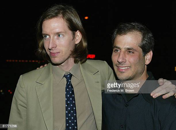 "Director Wes Anderson and producer Barry Mendel attend the film premiere of ""The Life Aquatic With Steve Zissou"" on November 20, 2004 at the Harmony..."