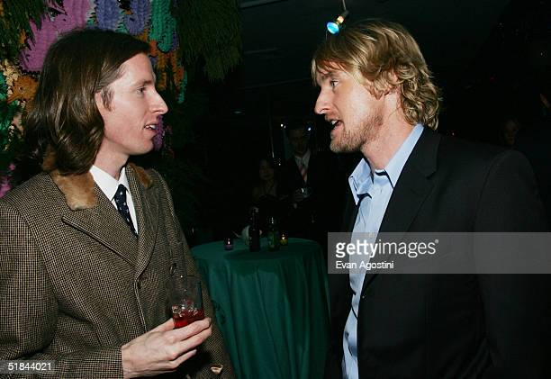 "Director Wes Anderson chats with actor Owen Wilson at ""The Life Aquatic With Steve Zissou"" premiere after party at Roseland Ballroom December 9, 2004..."