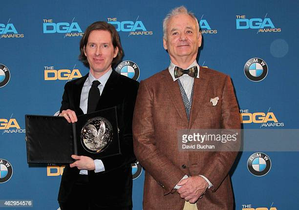 """Director Wes Anderson recipient of the Feature Film Nomination Plaque for """"The Grand Budapest Hotel' poses with actor Bill Murray in the press room..."""