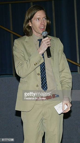 "Director Wes Anderson speaks during the film premiere of ""The Life Aquatic With Steve Zissou"" on November 20, 2004 at the Harmony Gold Theater, in..."