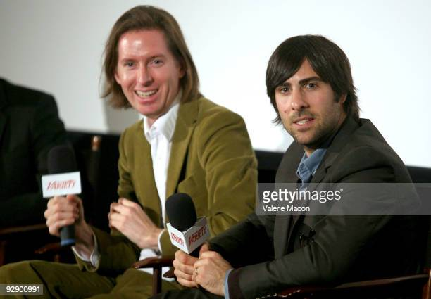 Director Wes Andreson and actor Jason Schwartzman attend the Variety screening of 'Fantastic M Fox' at the Landmark Theater on November 3 2009 in Los...