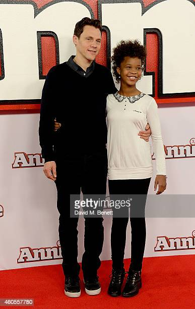 """Director Will Gluck and Quvenzhane Wallis attend a photocall for """"Annie"""" at Corinthia Hotel London on December 16, 2014 in London, England."""