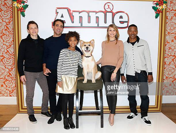 Director Will Gluck andActors Bobby Cannavale Quvenzhane Wallis Sandy the Dog Cameron Diaz and Jamie Foxx attend 'Annie' Cast Photo Call at Crosby...