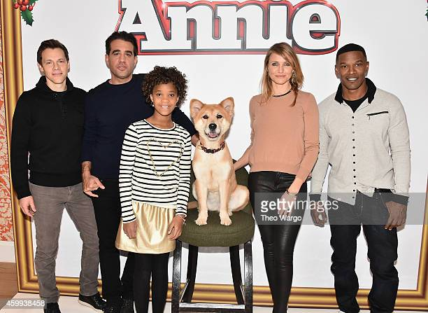 Director Will Gluck Bobby Cannavale Quvenzhane Wallis Sandy the Dog Cameron Diaz and Jamie Foxx attend 'Annie' Cast Photo Call at Crosby Street Hotel...