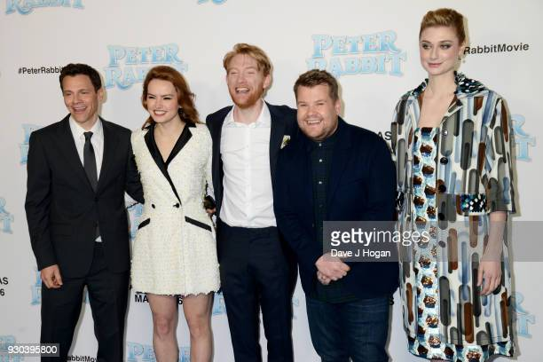Director Will Gluck Daisy Ridley Domhnall Gleeson James Corden and Elizabeth Debicki attend the Peter Rabbit Gala Premiere at Vue West End on March...