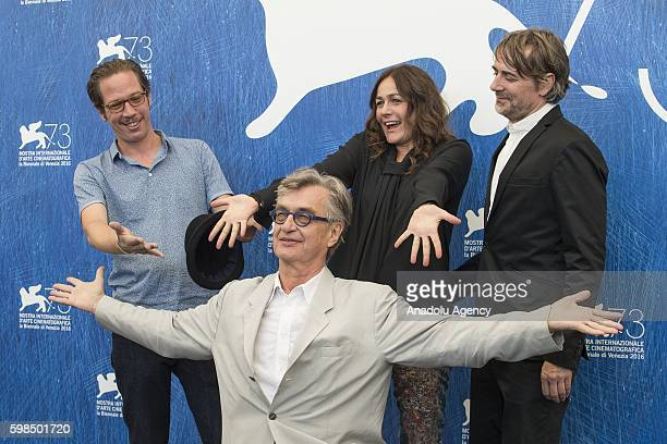 Director Wim Wenders actor Reda Kateb actress Sophie Seminand actor Jens Harzer attend the photocall of Wim Wenders's movie Les beaux Jours...