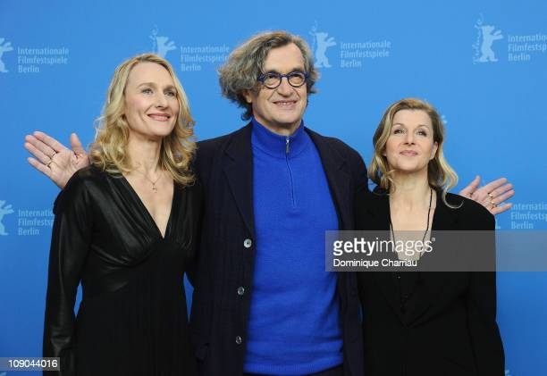 Director Wim Wenders and protagonists Barbara Kaufmann and Julie Shanahan attend the 'Pina' Photocall during day four of the 61st Berlin...