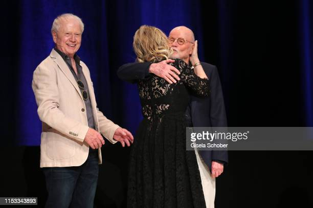 Director Wolfgang Petersen and his wife Maria BorgelPetersen and Guenter Rohrbach during the Bavaria Film Reception One Hundred Years in Motion on...