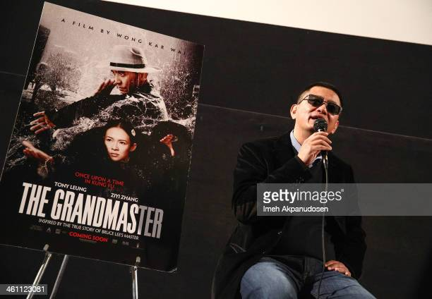 Director Wong Karwai speaks during a QA following the screening of 'The Grandmaster' at American Cinematheque's Egyptian Theatre on January 6 2014 in...