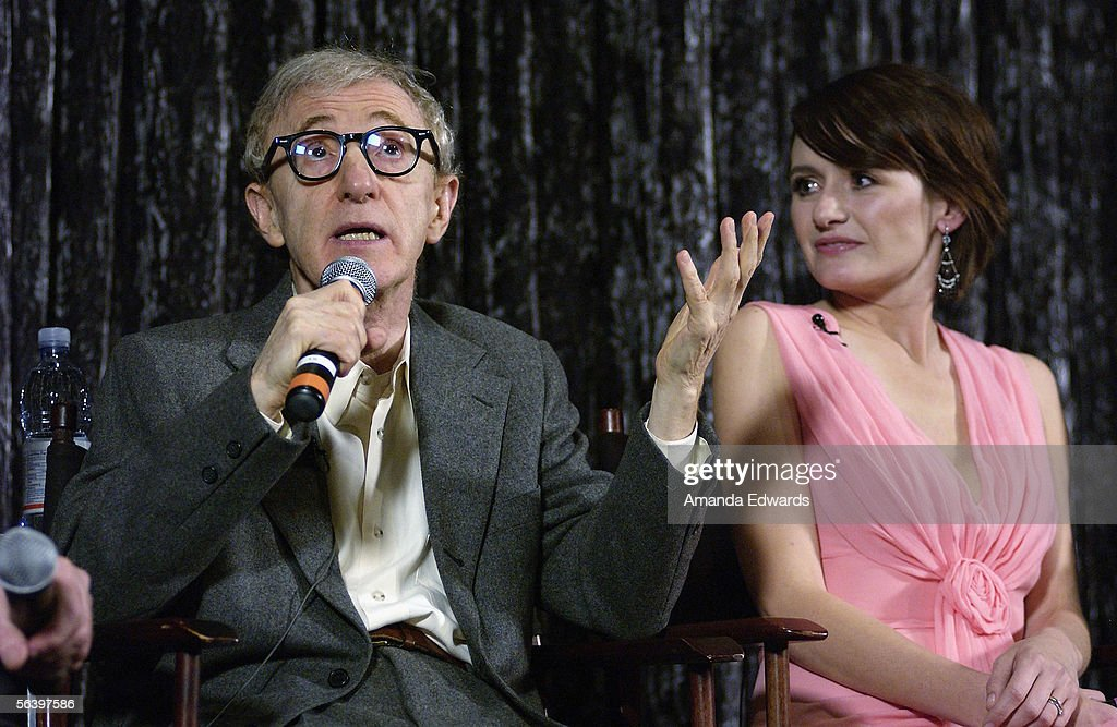 Director Woody Allen and actress Emily Mortimer participate in a Q&A session at the Variety Screening Series of 'Match Point' at the Arclight Theaters on December 8, 2005 in Hollywood, California.