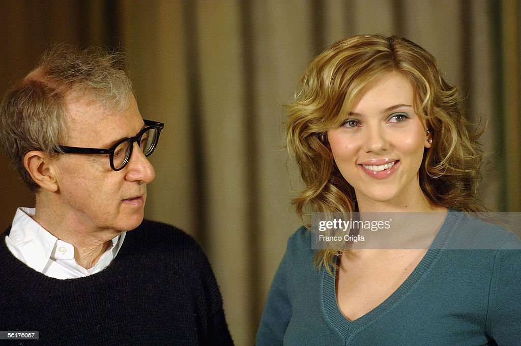 Director Woody Allen and actress Scarlett Johansson attend a photocall to promote their new film 'Match Point' at the Hasler Hotel on December 21, 2005 in Rome, Italy.