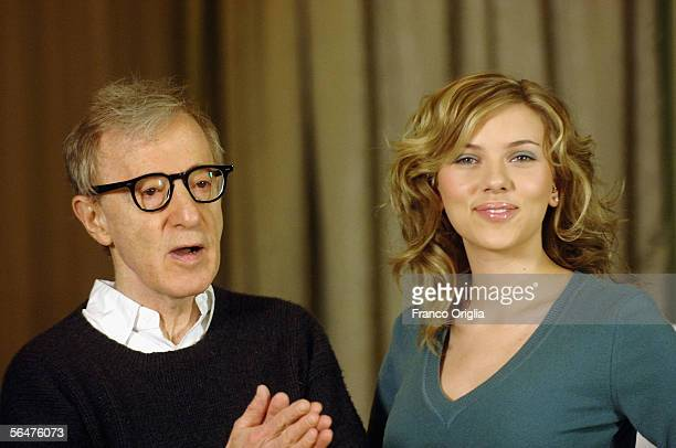 """Director Woody Allen and actress Scarlett Johansson attend a photocall to promote their new film """"Match Point"""" at the Hasler Hotel on December 21,..."""