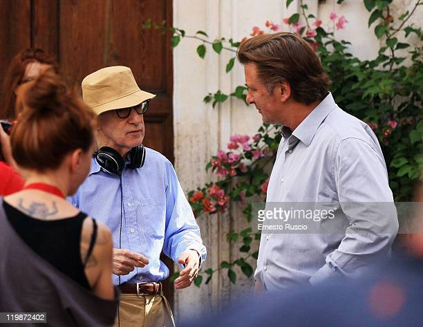Director Woody Allen and Alec Baldwin speak during the filming of 'To Rome With Love' at Piazza Madonna Dei Monti on July 26 2011 in Rome Italy
