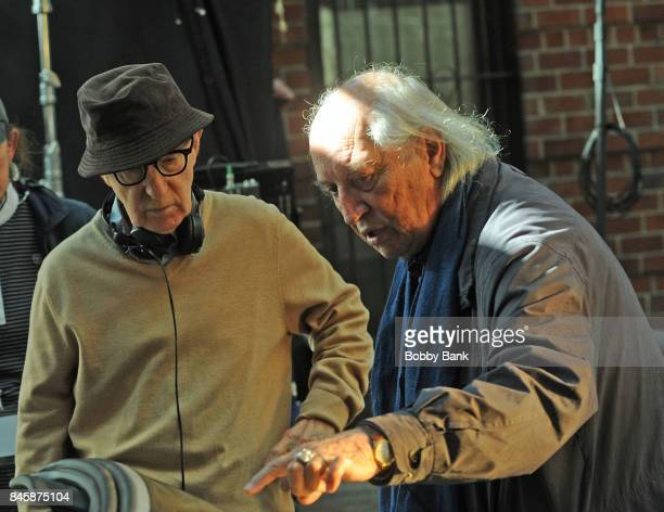 Director Woody Allen and cinematographer Vittorio Storaro on the set of the 'Untitled Woody Allen Project' on September 11 2017 in New York City