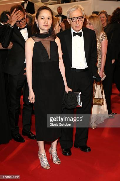 """Director Woody Allen and his wife Soon-Yi Previn depart the Premiere of """"Irrational Man"""" during the 68th annual Cannes Film Festival on May 15, 2015..."""