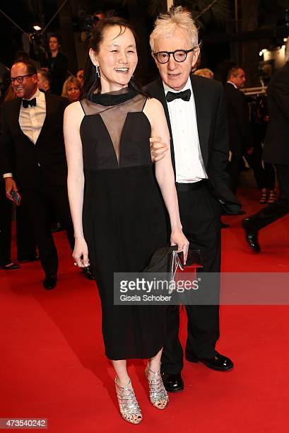 Director Woody Allen and his wife SoonYi Previn depart the Premiere of 'Irrational Man' during the 68th annual Cannes Film Festival on May 15 2015 in...