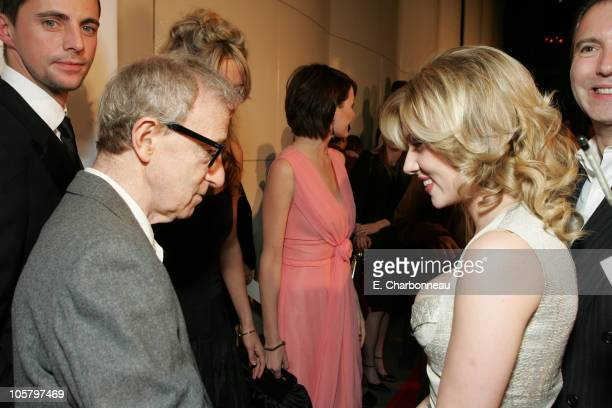 """Director Woody Allen and Scarlett Johansson during Dreamworks' """"Match Point"""" Los Angeles Premiere at LACMA in Los Angeles, California, United States."""