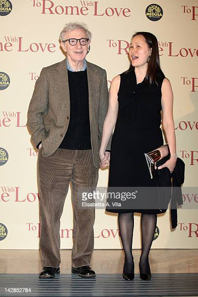 """Director Woody Allen and wife Soon-Yi Previn attend """"To Rome With Love"""" World Premiere at Auditorium Parco Della Musica on April 13, 2012 in Rome,..."""