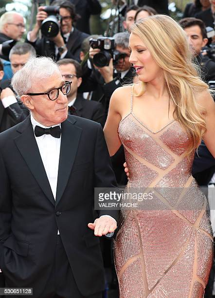 US director Woody Allen arrives on May 11 2016 with US actress Blake Lively for the screening of the film Cafe Society during the opening ceremony of...