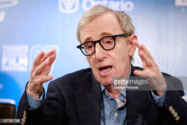 """Director Woody Allen at The 32nd Annual Toronto International Film Festival """"Cassandra's Dream"""" Press Conference at Sutton Place Hotel on September..."""