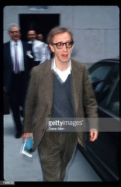 Director Woody Allen leaves the Manhattan Supreme Courthouse April 15 1993 in New York City Allen's exgirlfriend Mia Farrow is filing for custody of...