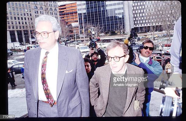 Director Woody Allen leaves the Manhattan Supreme Courthouse March 22, 1993 in New York City. Allen's ex-girlfriend Mia Farrow is filing for custody...