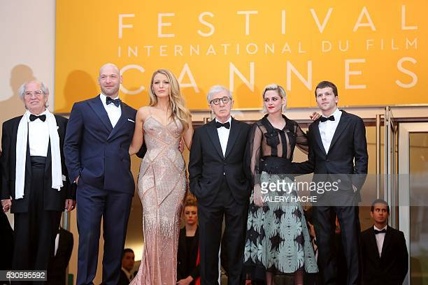 US director Woody Allen pose with Italian cinematographer Vittorio Storaro US actor Corey Stoll US actress Blake Lively US actress Kristen Stewart...