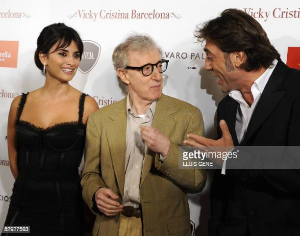 US director Woody Allen Spanish actress Penelope Cruz and Spanish actor Javier Bardem pose for photographers before the screening of their film...